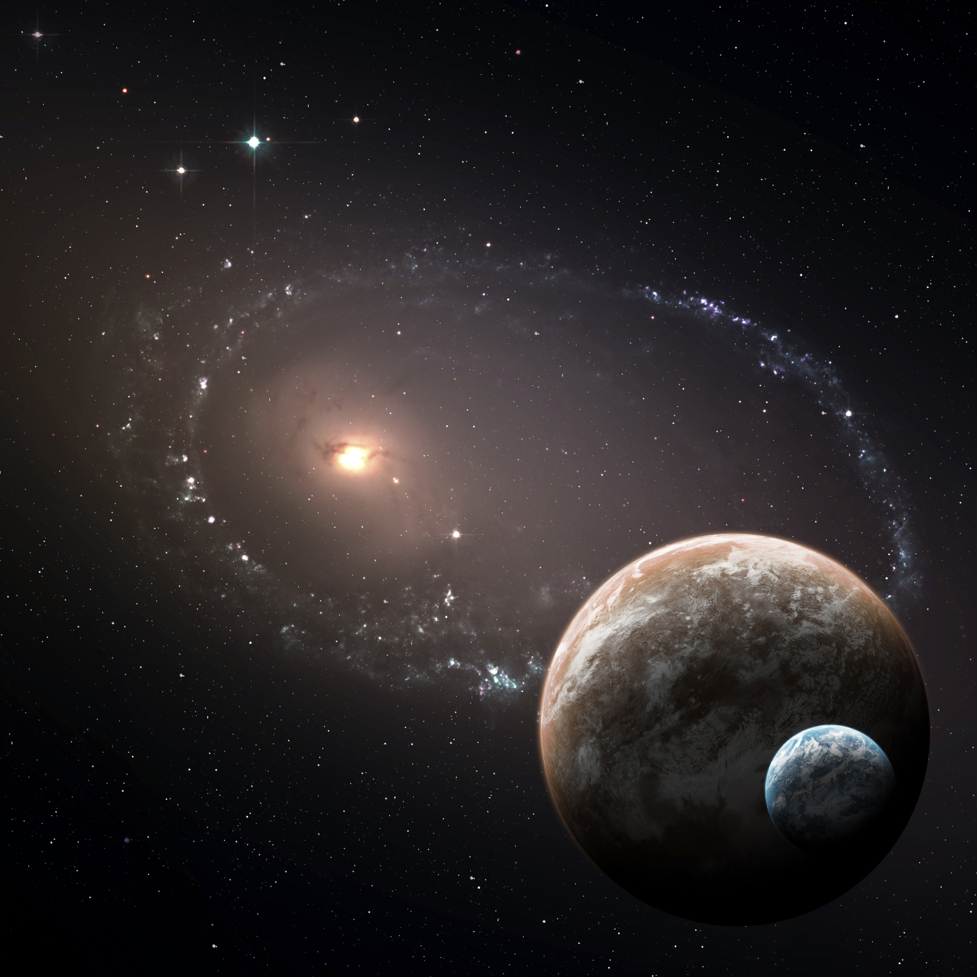 Two planets in the deep space. Elements of this Image Furnished by NASA